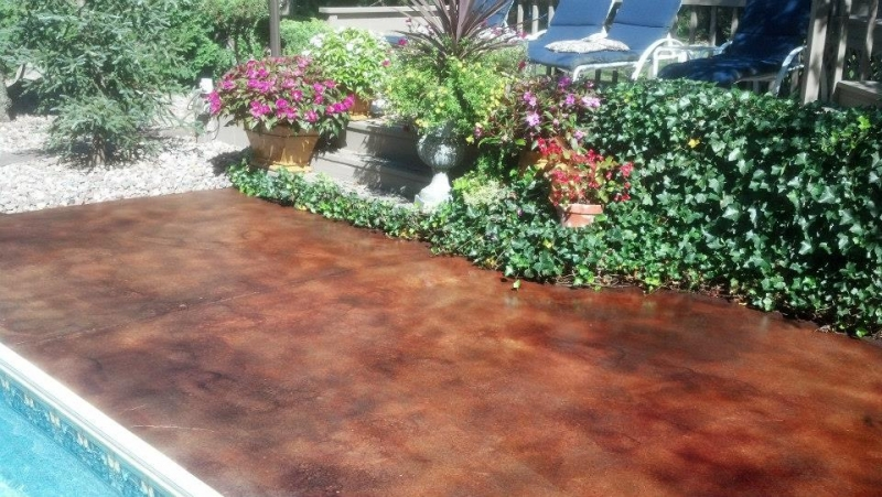 acid stain pool deck